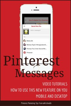 How to use Pinterst Messages on your mobile device and desktop - Screen captures and video tutorials to help you use this new feature Marketing Articles, Content Marketing, Digital Marketing, Pinterest Advertising, Pinterest Marketing, Corporate Communication, Pinterest For Business, Video Tutorials, Messages