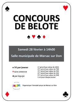 Marsac sur Don : Concours de Belote le 28/02/15