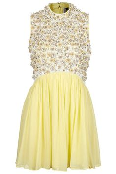 pretty yellow embellished dress @Topshop