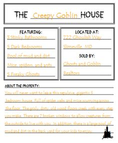 haunted house for sale. great lesson for teaching use of creative adjectives.