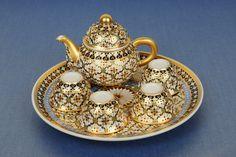 Miniature tea set by Benjarong. Tea Cup Saucer, Tea Cups, Antique Tea Sets, Dollhouse Accessories, China Sets, Tea Service, Chocolate Pots, Coffee Set, Drinking Tea