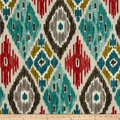 P/Kaufmann Harlequin Kilim Fiesta from @fabricdotcom  Screen printed on slub duck cloth (slub cloth has a linen appearance), this versatile medium weight cotton fabric is perfect for window accents (draperies, valances, curtains and swags), accent pillows, bed skirts, duvet covers, slipcovers , upholstery and other home decor accents. Create handbags, tote bags, aprons and more. Colors include taupe, grey, teal, chartreuse, and pinkish red.