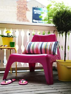Balcony ideas yellow and pink