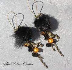 Boucles d'oreilles créateur bronze halloween  magie et citrouille