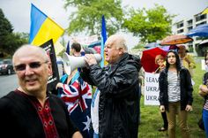 Protesters outside the Russian embassy in Canberra rally against Russia's actions in the Ukraine. Photo: Rohan Thomson