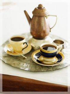 Turkish Coffee. . . in a Delightful Service Set, with Traditional Engraved Silver Tray