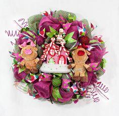XL Whimsical Reindeer Gingerbread House Wreath by Splendid Homecrafts on Etsy