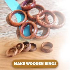 Woodworking Ideas Table, Easy Woodworking Projects, Woodworking Tools, Woodworking Techniques, Wood Turning Projects, Diy Wood Projects, Wooden Rings, Wooden Jewelry, Mesh Wreath Tutorial