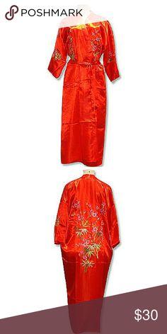 Bathrobe Plum Red Charming Chinese Silk Womens Kimono Robe Gown Bathrobe Sizes S M L Xl Intimates & Sleepwear Robes