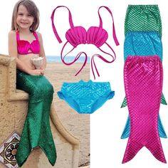 3Pcs New Kids Girls Mermaid Tail Swimmable Bikini Set Swimwear Swim Costume 2017 New Children Bikinis Set