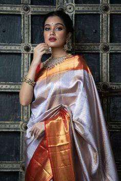 Saree Blouse Designs, Blouse Styles, Fancy Sarees, Silk Sarees, Kurti With Jacket, Saree Wedding, Bridal Sarees, Saree Poses, Wedding Saree Collection