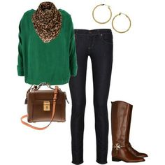 ❤ Hunter green sweater, brown/black  leopard scarf, black skinny jeans, brown boots & handbag, gold earings