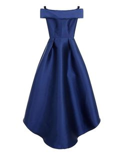 Embroidered Bardot-style off shoulders and dip hem gown in navy blue with gold embroidery on the front.  From House of Fraser, Chi Chi of London --  BACK VIEW all navy blue.
