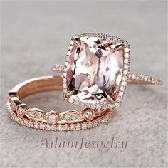 3pcs Wedding Ring Set 10x12mm Cushion Morganite Engagement Ring 14k Rose Gold