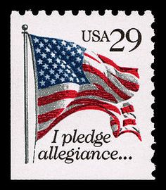 The Pledge of Allegiance was honored on this stamp in 1992, to celebrate its centennial.