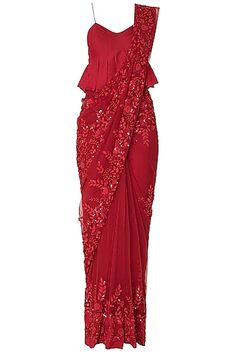 Featuring a red saree in silk with floral embroidery all over. It comes along with a red peplum blouse in nylon. Red Saree, Saree Look, Red Blouse Saree, Trendy Sarees, Stylish Sarees, Embroidery Fashion, Floral Embroidery, Saree Designs Party Wear, Modern Saree