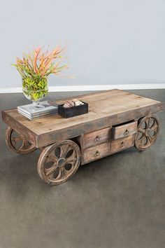 Coffee Table with Wheels by Posh Home Accents on @HauteLook