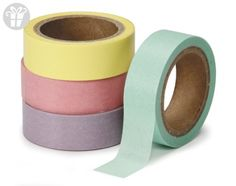 DARICE 1217-151 Washi Tape Roll, 5/8 by 315-Inch, Assorted Pastel, 4-Pack (*Amazon Partner-Link)