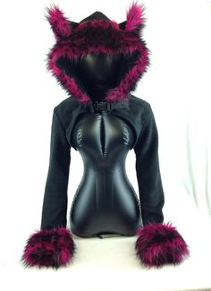 Pawstar WOLF EAR Fur TRIM Hooded Shrug You Pick Color by pawstar