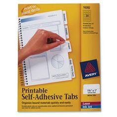 Avery Printable Self-Adhesive Tabs. For custom recipe binder