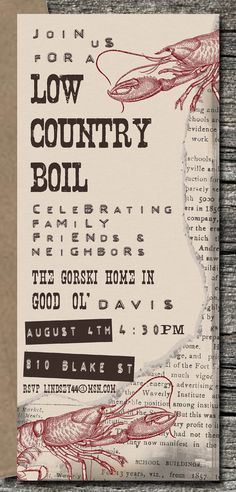 Low Country Boil Invitation Set of 10 by theblueeggevents on Etsy, $19.00