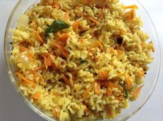 Healthy, easy, nutritious and perfect lunch box menu. Try this delicious and tasty carrot rice with potato fry or just with pappads. Fried Potatoes, Fried Rice, Carrots, Fries, Lunch Box, Menu, Tasty, Healthy, Ethnic Recipes