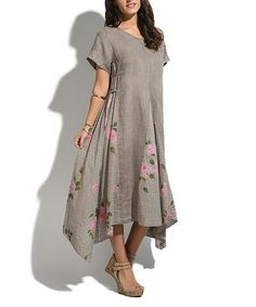 Look what I found on Taupe & Pink Rose Linen-Blend Sidetail Midi Dress Long Linen Dresses, Hi Low Dresses, Simple Dresses, Cotton Dresses, Pretty Dresses, Short Sleeve Dresses, Fit N Flare Dress, Beautiful Outfits, Outfit Designer