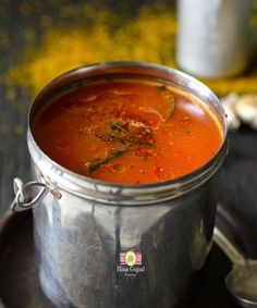 Tomato Garlic Rasam is the spicy, soupy Indian curry made with tomatoes and flavored with lots of garlic. Learn how to make tomato rasam. Veg Recipes, Curry Recipes, Indian Food Recipes, Vegetarian Recipes, Cooking Recipes, Kerala Recipes, Relish Recipes, Vegetarian Cooking, Gourmet