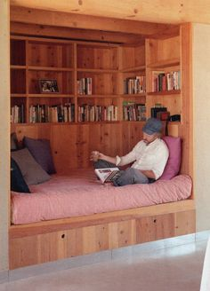 wooden library nook I would add drawers to under bed for storage and a shelf for coffee and cake. Could we reuse the cot mattress for this?