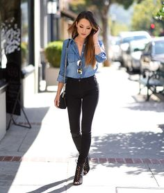 . Mode Outfits, Jean Outfits, Stylish Outfits, Fall Winter Outfits, Spring Outfits, Looks Camisa Jeans, Blue Denim Shirt, Denim Shirts, Black Shirt With Jeans