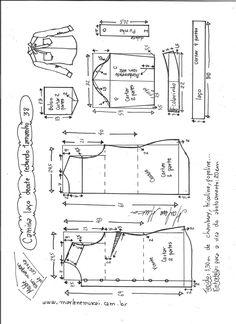 Esquema de modelagem de camisa com laço e decote redondo tamanho 38.