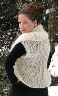 Reversible Lace Shrug with Contoured Shaping