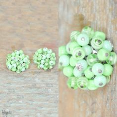 Vintage Earrings // Green Beads // Clip On by Aligras Vintage on Etsy