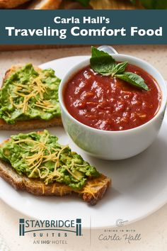 A little comfort food while on the road goes a long way. Chef Carla Hall from The Chew elevated this cozy classic by pairing a simple homemade tomato soup with avocado cheese toast. Give this #hugelydifferent recipe a try in your fully-equipped kitchen at Staybridge Suites