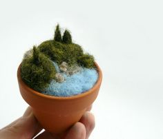 Miniature landscape Needle felted forest with lake Miniature nature in ceramic pot Natural home decor. $25.00, via Etsy.