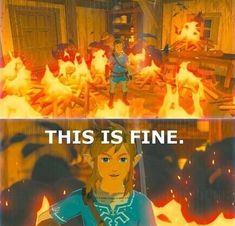 Yep. Nice and toasty... The Legend Of Zelda, Legend Of Zelda Memes, Legend Of Zelda Breath, Video Games Funny, Video Game Memes, Funny Games, Saga, Videogames, Splatoon Memes