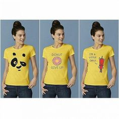 Pack of 3 Yellow Printed T-shirts For Her Material : Cotton Sizes : Small,Medium,Large, Xlarge Price : with Delivery Contact WhatsApp : / Yellow Print, Panda, Chili, T Shirts For Women, Deal Today, Man Women, Trendy Clothing, Cotton, Slay