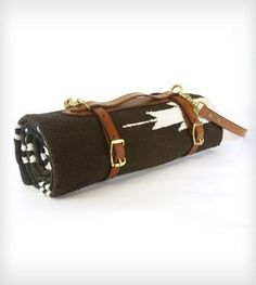 Leather Blanket Carrier with Saddle Blanket by Red Clouds Collective on Scoutmob Shoppe. Leather Craft, Leather Bag, Tooled Leather, Saddle Blanket, Yoga Blanket, Picnic Blanket, Outdoor Blanket, Red Cloud, Horse Tack