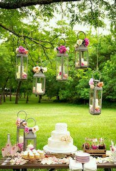 Candle lanterns hanging. :)