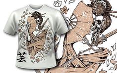 T-shirt design with Geisha and Skull