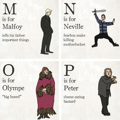 A witty illustrated alphabet of Harry Potter characters. These are hilarious! (Click on picture to see full alphabet)