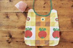baby bib // fruity baby bib, upcycled cotton baby bib, vintage tablecloth baby bib by birdiesaid on Etsy
