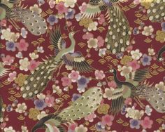 AmazonSmile: Peacocks & Blossoms: Burgundy Asian Japanese Fabric (1/2 Yd.)