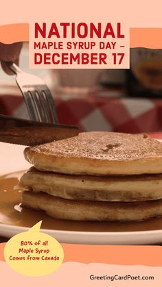 DON'T FORGET: National Maple Syrup Day is December 17. Click on the link for Fun Facts, Quotes, and jokes on maple syrup. #maplesyrup #Canada #waffles National Celebration Days, Real Maple Syrup, Maple Glaze, December 17, Don't Forget, Fun Facts, Waffles, Jokes, Canada