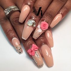 Nude coffin nails with 3d roses and bows