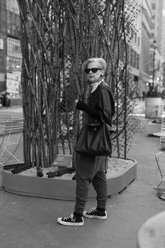 Accidental Icon Wears   Leather jacket: Catherine Malandrino, Turtleneck, Yohji Yamamoto, Knit harem jumpsuit: Zara, Sneakers: Converse CDG Play, Black Leather Purse: Longchamp, Earrings: Vintage from Paris