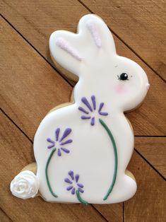 Christmas Sugar Cookies, Easter Cookies, Holiday Cookies, Iced Cookies, Cute Cookies, Fondant Rabbit, Easter Deserts, Paint Cookies, Cupcakes