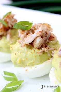 Creamy avocado and fresh crab meat makes this deviled egg recipe uniquely delicious