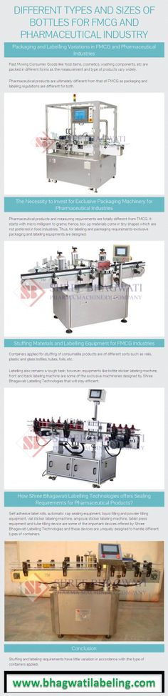 Learn about the different types and variable sizes of bottles and containers used in FMCG and pharmaceutical packaging. Find out the types of labeling and packaging machineries available for FMCG and Pharmaceutical industries. Shree Bhagawati Labelling Technologies that will stay efficient. Kindly Visit - http://www.bhagwatilabeling.com/labelling-machines/
