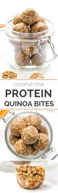 HIGH PROTEIN! Quinoa Energy Bites -- high protein in a delicious coconut-chai flavor. Great snack or post-workout! (naturally gluten-free + vegan)